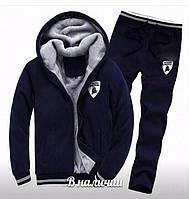 Мужской теплый спортивный костюм трехнить темно-синий 44 46 48 50 52 54 56
