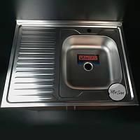 Накладная кухонная мойка Platinum 80*60 (cм) в покрытии satin (матовая), с толщиной 0,5(мм)
