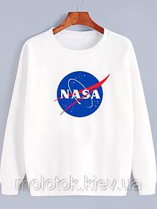 Жіночий демісезонний світшот білий в стилі Nasa