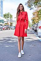 Романтичное Комфортное Платье с Бантом на Шее и Карманами Красное S-XL