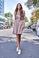 Романтичное Комфортное Платье с Бантом на Шее и Карманами Бежевое S-XL