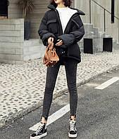 Куртка женская теплая с пояском (черный)