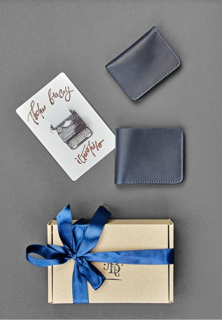 """Чоловічий подарунковий набір шкіряних аксесуарів """"Гамбург"""": портмоне і кард-кейс. Колір синій"""