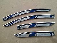 Дефлекторы окон (ветровики) с хром полосой (кантом-молдингом) Hyundai santa fe III (хюндай санта фе) 2012+