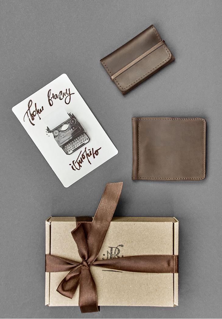"""Мужской подарочный набор кожаных аксессуаров """"Лас-Вегас"""": зажим для денег и карт-кейс. Цвет коричневый"""