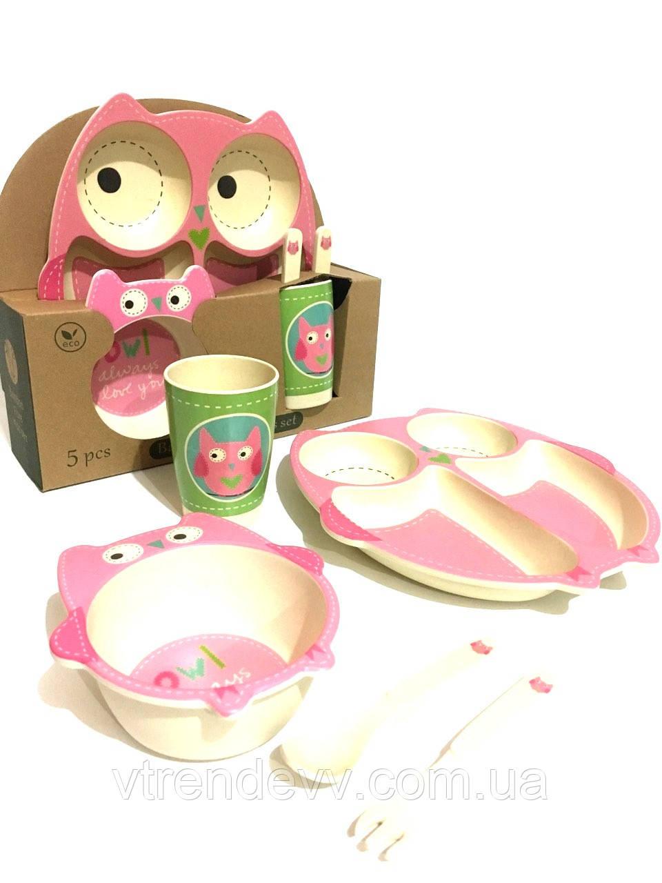 Набор детской посуды из бамбука Bamboo Fibre kids set Сова 5 в 1 002