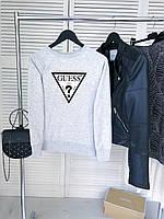 Женский демисезонный свитшот серый в стиле Guess