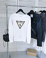 Женский демисезонный свитшот белый в стиле Guess