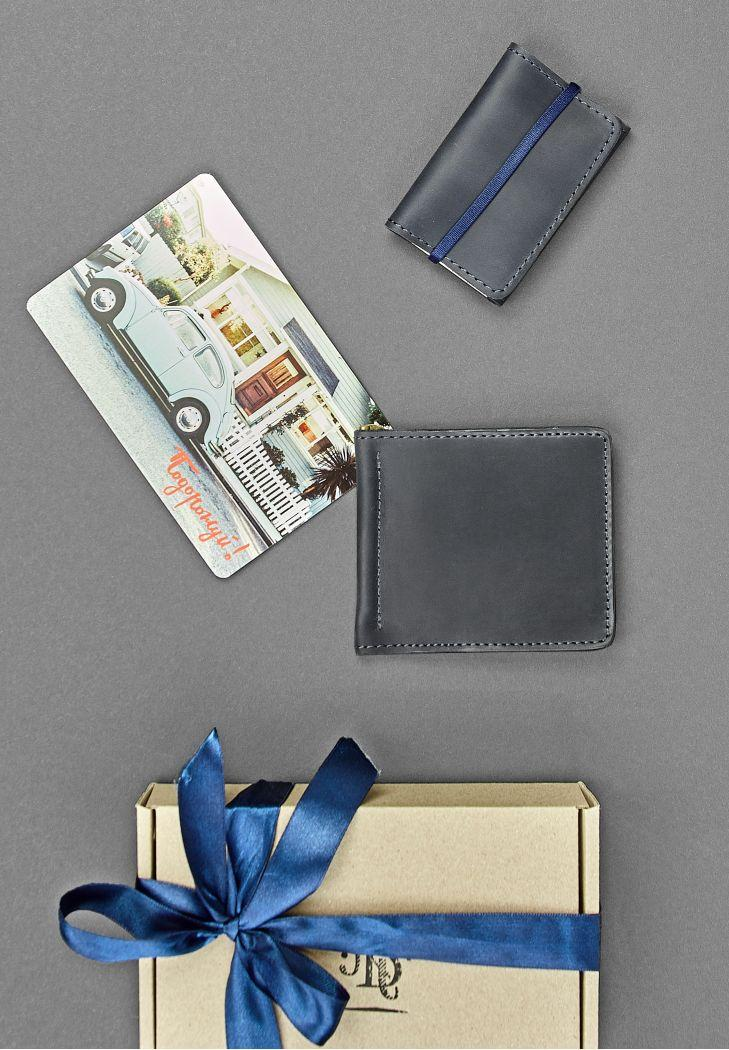 """Мужской подарочный набор кожаных аксессуаров """"Токио"""": зажим для денег и кард-кейс. Цвет синий"""