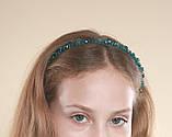Зеленый Обруч для волос с хрустальными бусинами Изумрудный, фото 2