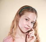 Зеленый Обруч для волос с хрустальными бусинами Изумрудный, фото 4