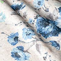 Декоративная ткань с мелкими полевыми цветками василькового цвета на светло-розовом Испания 82879v1