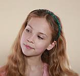 Зеленый Обруч для волос с хрустальными бусинами Изумрудный, фото 5