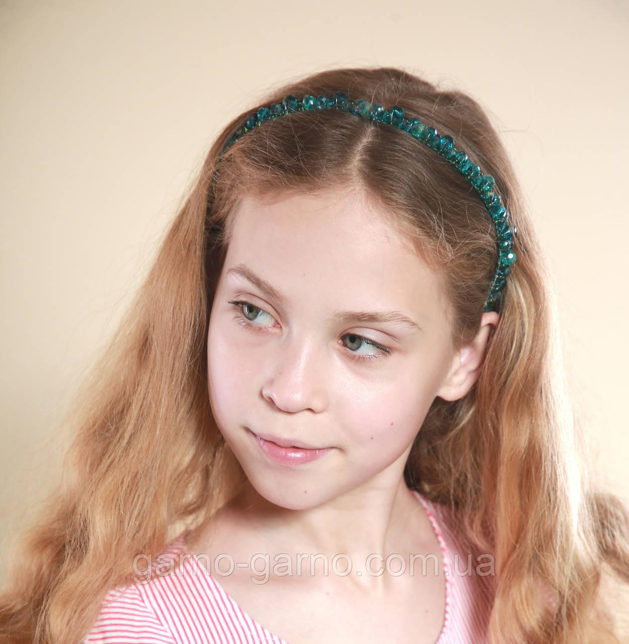 Зеленый Обруч для волос с хрустальными бусинами Изумрудный