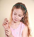 Зеленый Обруч для волос с хрустальными бусинами Изумрудный, фото 6