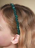 Зеленый Обруч для волос с хрустальными бусинами Изумрудный, фото 7