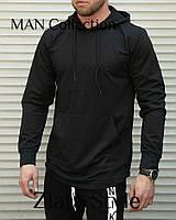 Мужской осенний батник двунить спортивный черный S M L, фото 1
