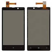 Сенсорный экран (touchscreen) для Nokia Lumia 820, черный, оригинал