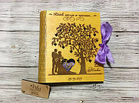 """Фотоальбом в деревянной обложке с гравировкой """"Наше весілля"""" (№6) (калужница)"""