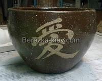 Горшок из шамота керамика с китайскими иероглифами (форма круг, цвет шоколад)