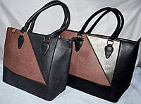 Женские комбинированные сумочки из кожзама с двумя ручками 30*27 см (серая и черная)