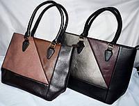Женские комбинированные сумочки из кожзама с двумя ручками 30*27 см (каштан и графит)