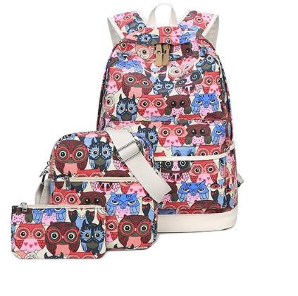 Рюкзак молодежный Цветные Совята Набор 3 в 1