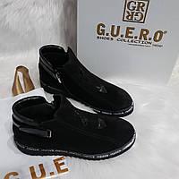 Женские демисезонные замшевые ботинки, фото 1