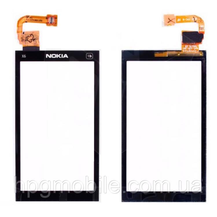 Сенсорный экран для Nokia X6-00, черный, оригинал