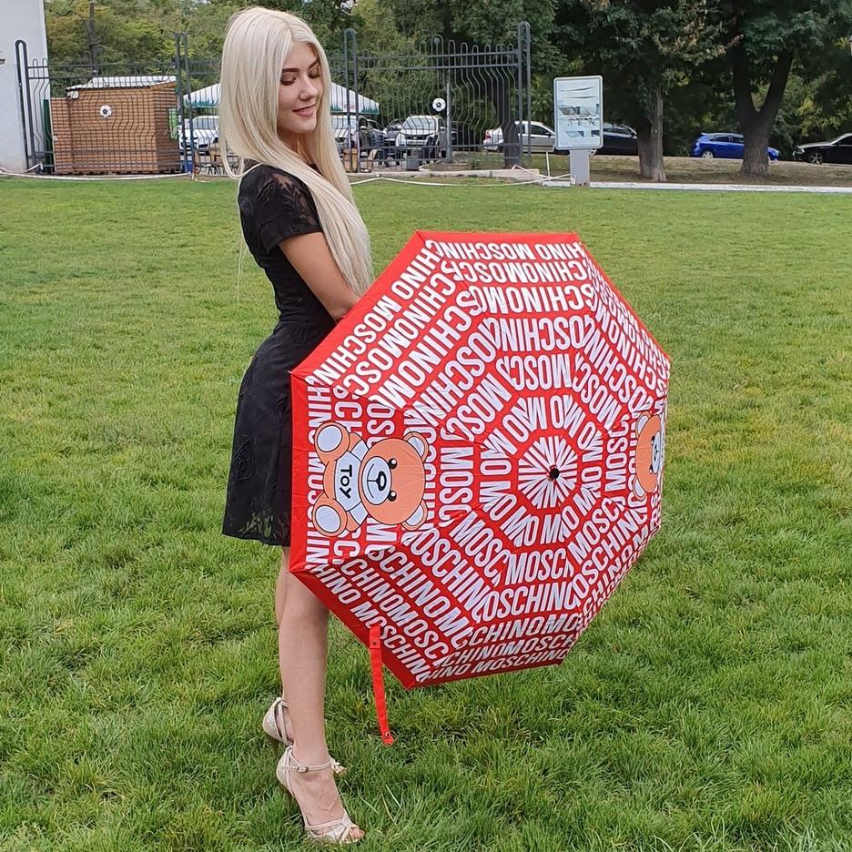 Зонт складной полу-автоматический Moschino Toy Bear красный