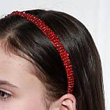 Яркий красный Обруч для волос с хрустальными и жемчужными бусинами, фото 2