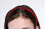 Яркий красный Обруч для волос с хрустальными и жемчужными бусинами, фото 3