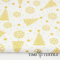Новогодняя скатерть Time Textile Christmas Tree Gold White с блестящим рисунком, фото 1