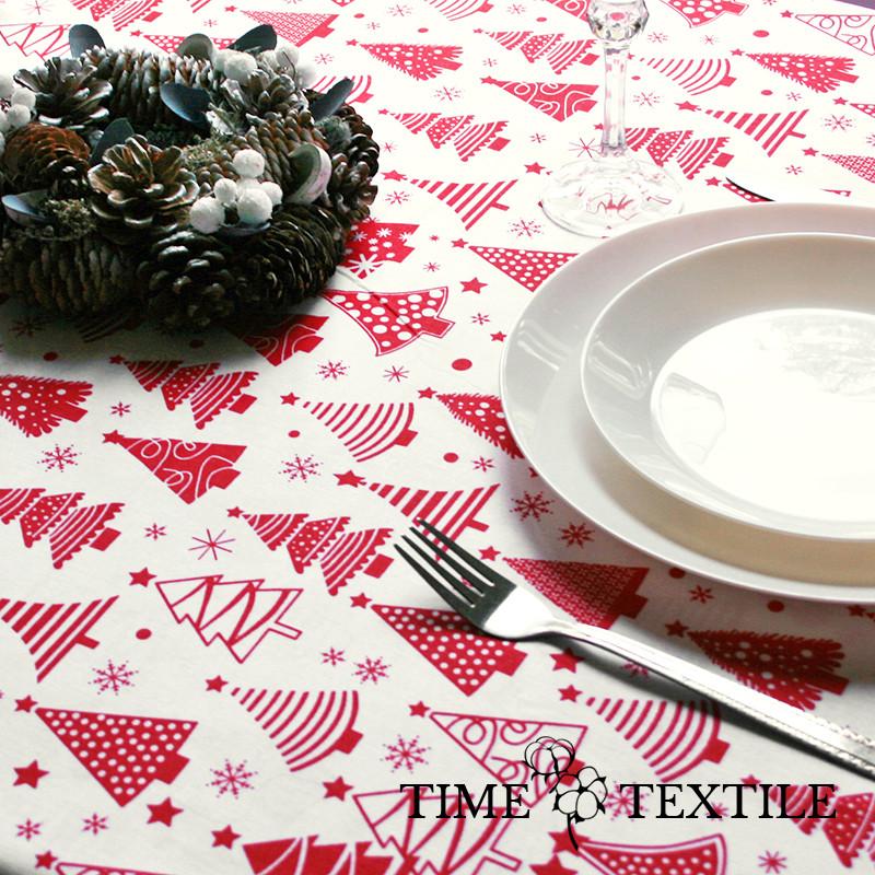 Новогодняя скатерть Time Textile Winter Forest красная