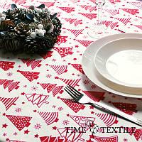 Новогодняя скатерть Time Textile Winter Forest красная, фото 1