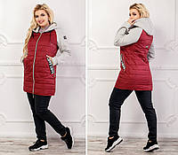 Стильная куртка с трикотажным рукавом, арт 768/2, цвет бутылка
