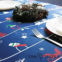 Новогодняя скатерть Time Textile New Year синяя, фото 1
