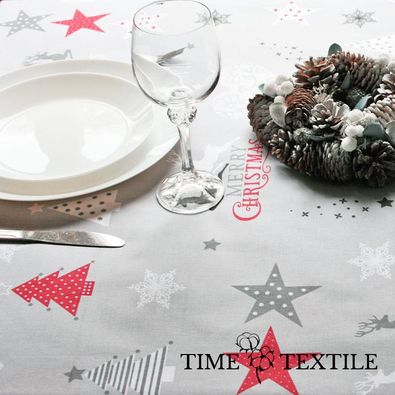 Новогодняя скатерть Time Textile Merry Christmas серая
