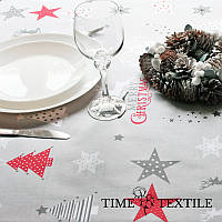 Новогодняя скатерть Time Textile Merry Christmas серая, фото 1