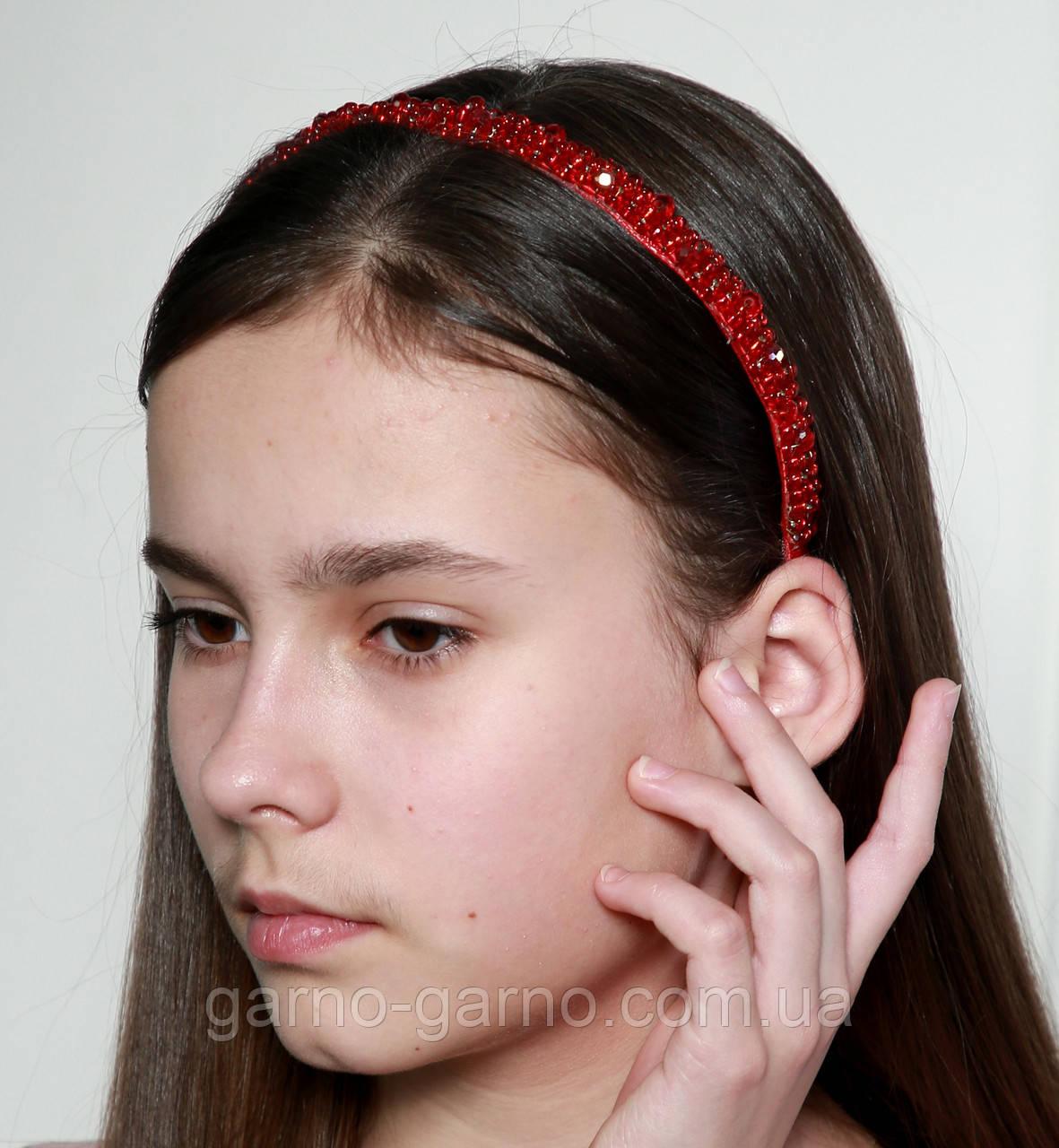 Яркий красный Обруч для волос с хрустальными и жемчужными бусинами