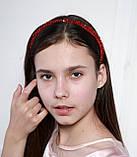 Яркий красный Обруч для волос с хрустальными и жемчужными бусинами, фото 4