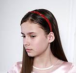 Яркий красный Обруч для волос с хрустальными и жемчужными бусинами, фото 5