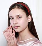 Яркий красный Обруч для волос с хрустальными и жемчужными бусинами, фото 6