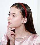 Яркий красный Обруч для волос с хрустальными и жемчужными бусинами, фото 7