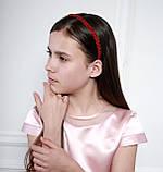 Яркий красный Обруч для волос с хрустальными и жемчужными бусинами, фото 8