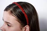 Яркий красный Обруч для волос с хрустальными и жемчужными бусинами, фото 10