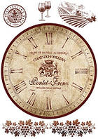 Декупажная карта  часы Вино