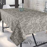 Скатерть Time Textile с акриловой пропиткой Dupre Серо-бежевая, фото 1