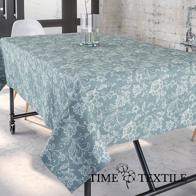 Скатерть Time Textile с акриловой пропиткой Dupre Серо-голубая