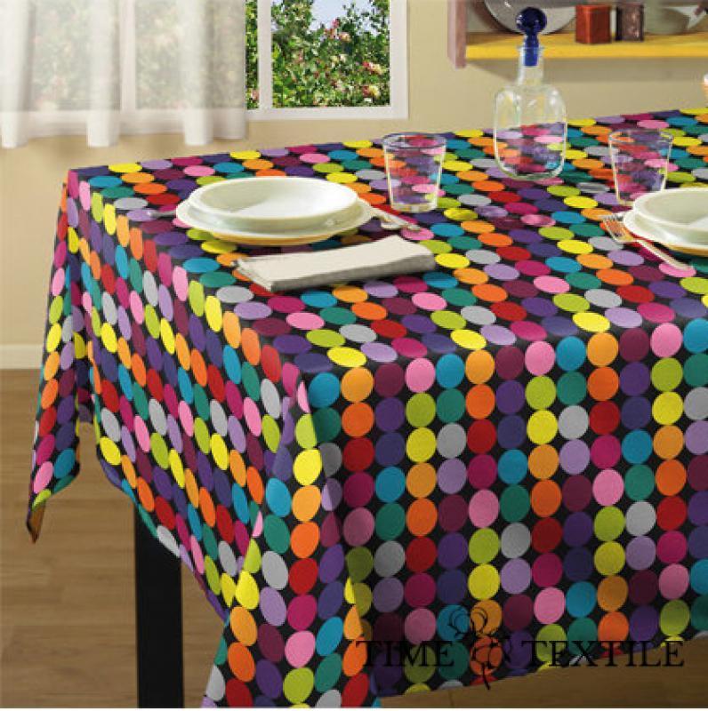 Скатерть в полоску Circles Multicolor Time Textile с акриловой пропиткой